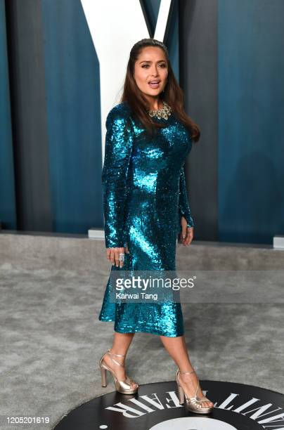 Salma Hayek arriving for the 2020 Vanity Fair Oscar Party Hosted By Radhika Jones at the Wallis Annenberg Center for the Performing Arts on February...