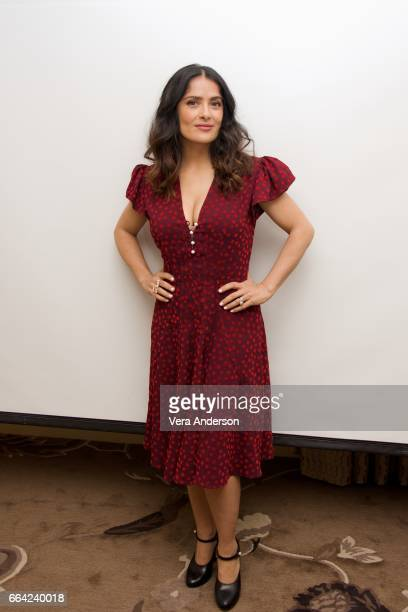 Salma Hayek at the 'How to Be a Latin Lover' Press Conference at the Four Seasons Hotel on April 1 2017 in Beverly Hills California