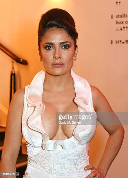 Salma Hayek attends a champagne reception ahead of The London Evening Standard Theatre Awards in partnership with The Ivy at The Old Vic Theatre on...
