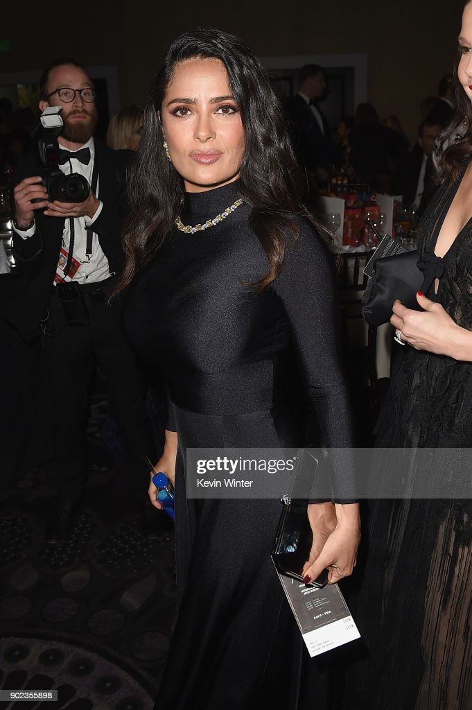 Salma Hayek attends a cocktail reception during The 75th Annual Golden Globe Awards at The Beverly Hilton Hotel on January 7, 2018 in Beverly Hills, California.