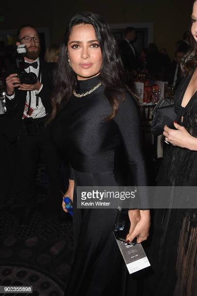 Salma Hayek attends a cocktail reception during The 75th Annual Golden Globe Awards at The Beverly Hilton Hotel on January 7 2018 in Beverly Hills...