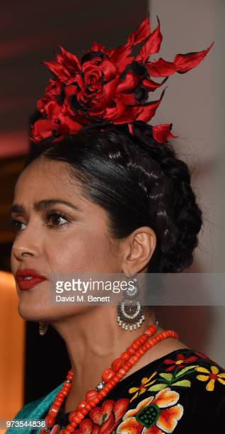 Salma Hayek attends a private view of 'Frida Kahlo Making Her Self Up' at The VA on June 13 2018 in London England