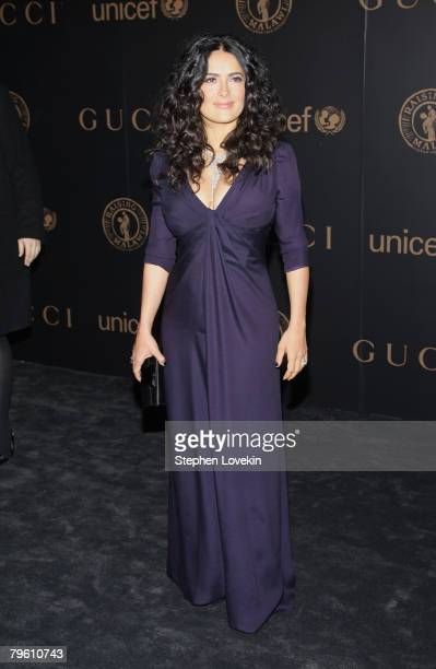 Salma Hayek attends a reception to benefit UNICEF hosted by Gucci during MercedesBenz Fashion Week Fall 2008 at The United Nations on February 6 2008...