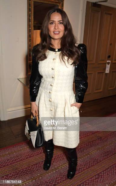 """Salma Hayek attends a special screening and reception for NETFLIX's """"Marriage Story"""" hosted by Alfonso Cuaron with Noah Baumbach at The Soho Hotel on..."""