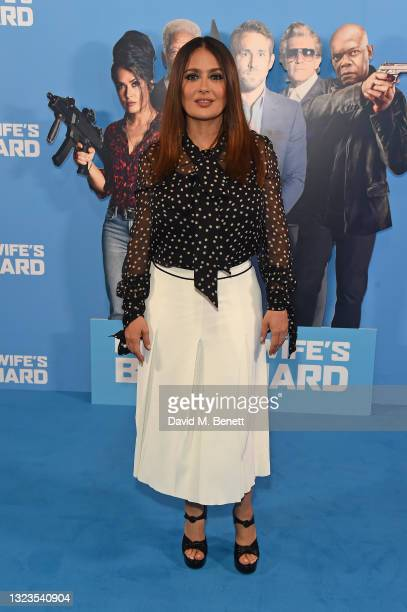 """Salma Hayek attends a special screening of """"Hitman's Wife's Bodyguard"""" at Cineworld Leicester Square on June 14, 2021 in London, England."""