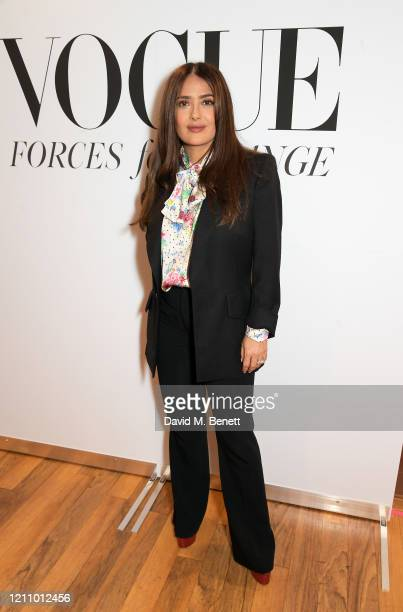 Salma Hayek attends British Vogue's Forces For Change during the WOW Women Of The World Festival at Southbank Centre on March 07, 2020 in London,...