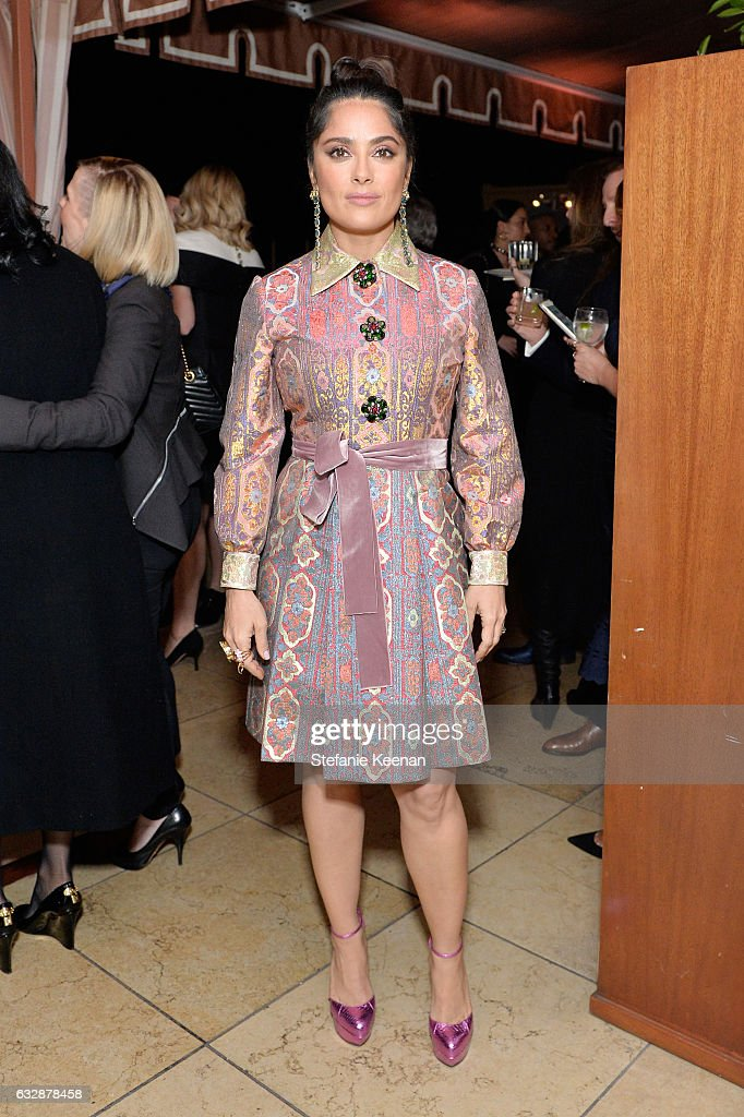 Salma Hayek attends Harper's BAZAAR celebration of the 150 Most Fashionable Women presented by TUMI in partnership with American Express, La Perla and Hearts On Fire at Sunset Tower Hotel on January 27, 2017 in West Hollywood, California.