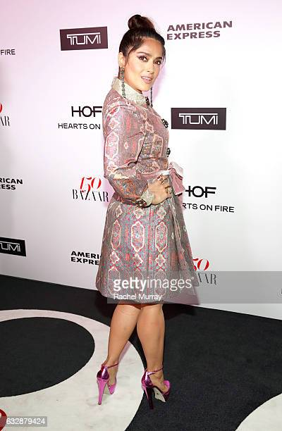 Salma Hayek attends Harper's BAZAAR celebration of the 150 Most Fashionable Women presented by TUMI in partnership with American Express La Perla and...
