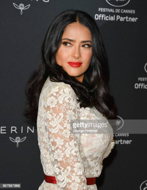 Salma Hayek attends Kering Women in Motion photocall during the 71st annual Cannes Film Festival at Majestic Hotel on May 13 2018 in Cannes France