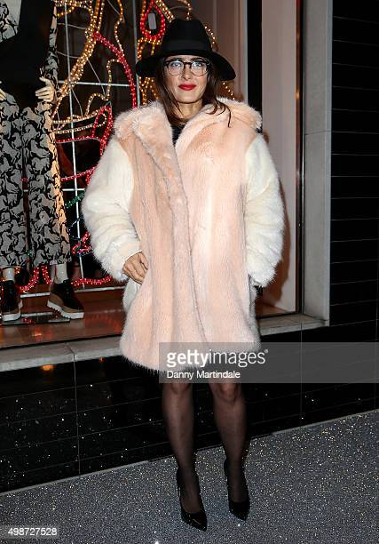 Salma Hayek attends Stella McCartney store Christmas lights switch on at Stella McCartney on November 25 2015 in London England