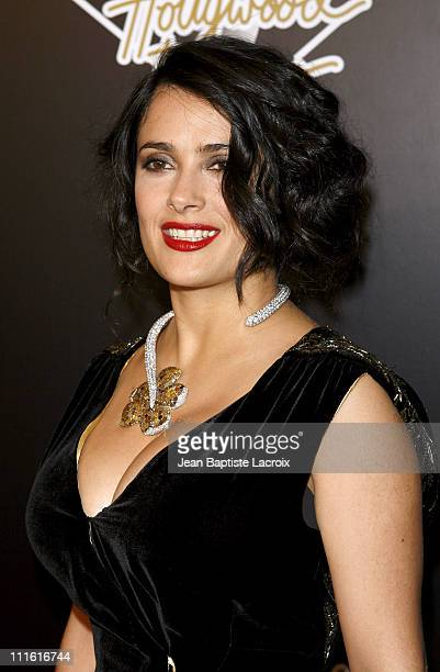 Salma Hayek attends the 1st Hollywood Domino Tournament hosted by De Grisogono at the Beverly Hills Hotel on February 21 2008 in Beverly Hills...