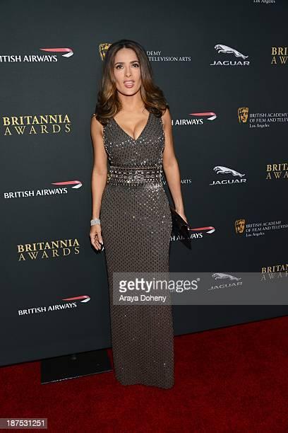 Salma Hayek attends the 2013 BAFTA LA Jaguar Britannia Awards presented by BBC America at The Beverly Hilton Hotel on November 9, 2013 in Beverly...