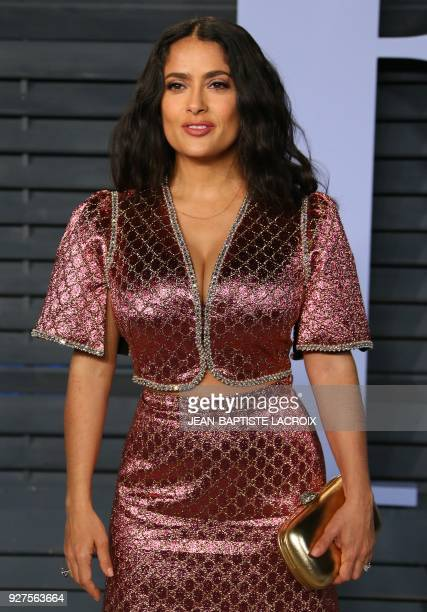Salma Hayek attends the 2018 Vanity Fair Oscar Party following the 90th Academy Awards at The Wallis Annenberg Center for the Performing Arts in...