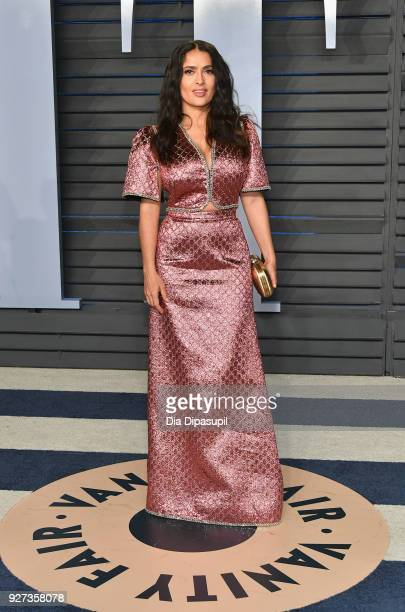 Salma Hayek attends the 2018 Vanity Fair Oscar Party hosted by Radhika Jones at Wallis Annenberg Center for the Performing Arts on March 4 2018 in...