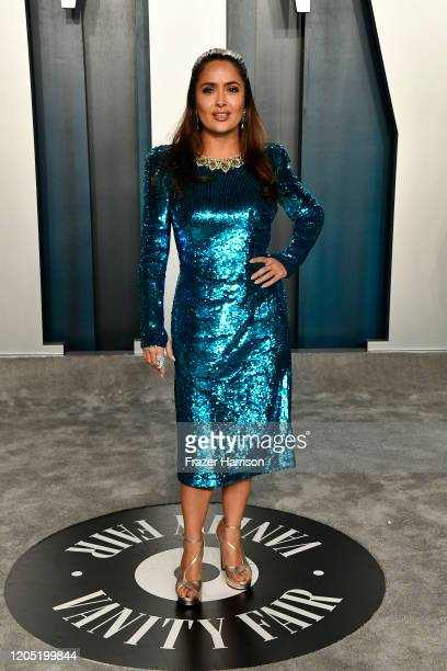 Salma Hayek attends the 2020 Vanity Fair Oscar Party hosted by Radhika Jones at Wallis Annenberg Center for the Performing Arts on February 09 2020...