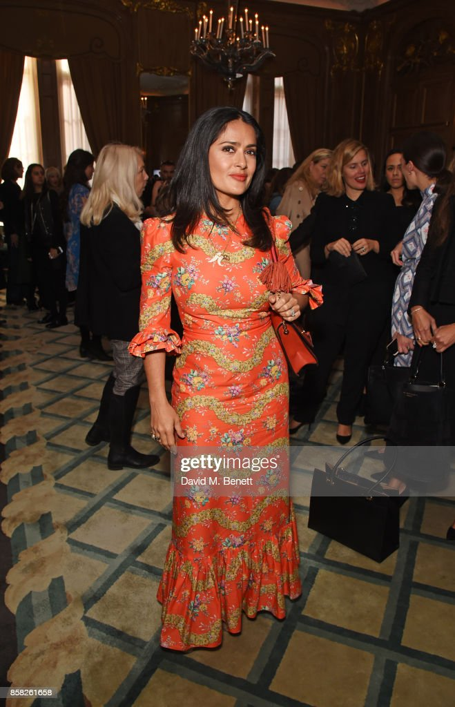 Salma Hayek attends the Academy of Motion Picture Arts and Sciences Women In Film lunch at Claridge's Hotel on October 6, 2017 in London, England.