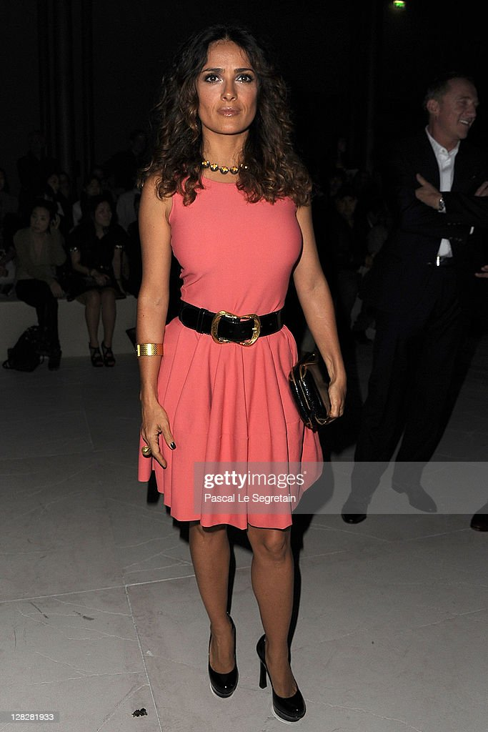 Salma Hayek attends the Alexander McQueen Ready to Wear Spring / Summer 2012 show during Paris Fashion Week on October 4, 2011 in Paris, France.