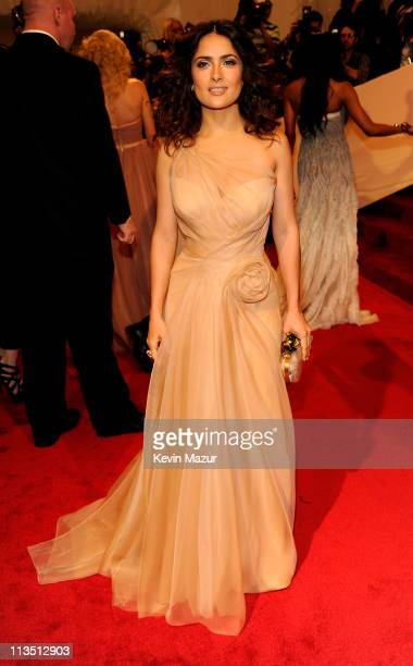 "Salma Hayek attends the ""Alexander McQueen: Savage Beauty"" Costume Institute Gala at The Metropolitan Museum of Art on May 2, 2011 in New York City."