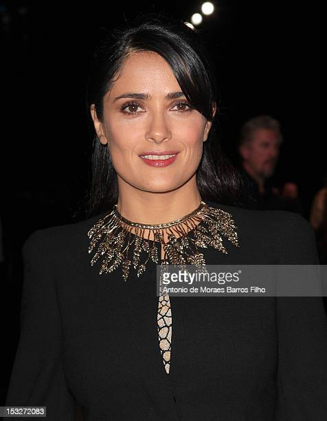 Salma Hayek attends the Alexander McQueen Spring / Summer 2013 show as part of Paris Fashion Week at Le 104 on October 2 2012 in Paris France