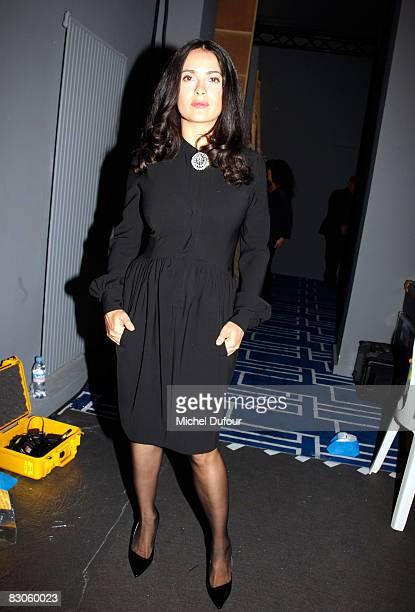 Salma Hayek attends the Balenciaga fashion show during Paris Fashion Week on September 30 2008 in Paris France