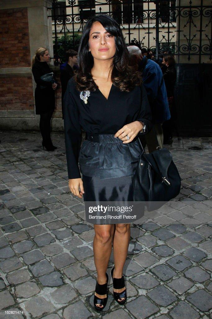 Salma Hayek attends the Balenciaga Spring / Summer 2013 show as part of Paris Fashion Week on September 27, 2012 in Paris, France.