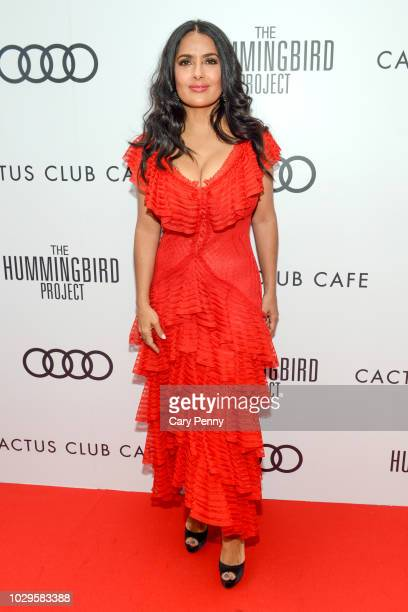 Salma Hayek attends the Cactus Club Cafe and Audi Celebrate The Hummingbird Project Starring Salma Hayek Jesse Eisenberg and Alexander Skarsgard at...