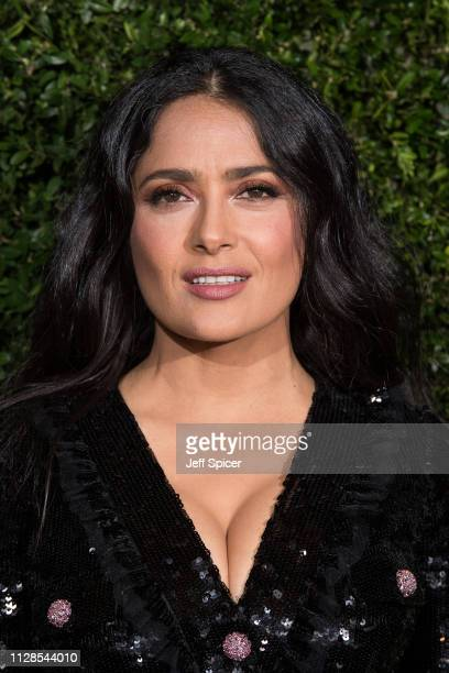 Salma Hayek attends the Charles Finch Chanel preBAFTA's dinner at Loulou's on February 09 2019 in London England