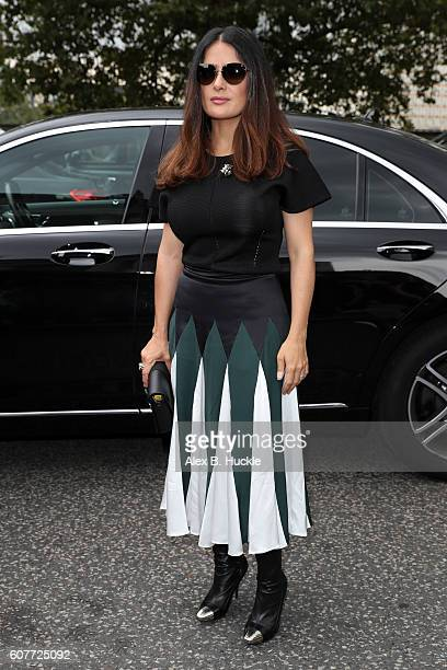 Salma Hayek attends the Christopher Kane show at Tate Britain during London Fashion week on September 19 2016 in London England