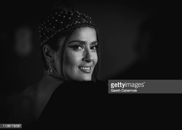 Salma Hayek attends the EE British Academy Film Awards at Royal Albert Hall on February 10, 2019 in London, England.