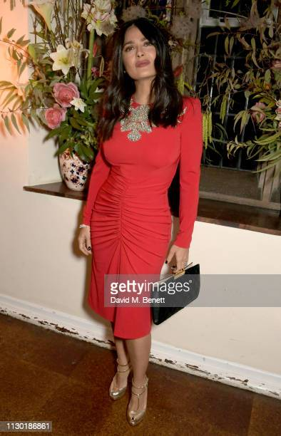 Salma Hayek attends the FrancoisHenri Pinault and Sarah Burton dinner In celebration of the Alexander McQueen Old Bond Street Flagship Store on...