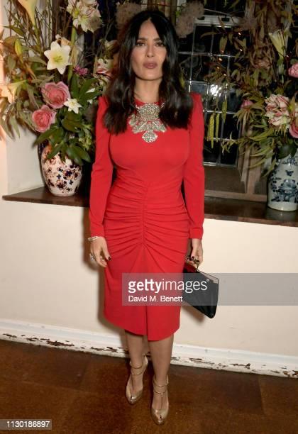 Salma Hayek attends the FrancoisHenri Pinault and Sarah Burton dinner In celebration of the Alexander McQueen Old Bond Street Flagship Store on...