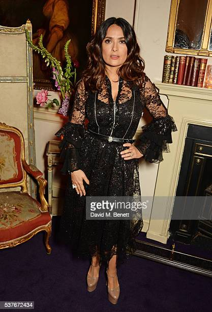 Salma Hayek attends the Gucci party at 106 Piccadilly in celebration of the Gucci Cruise 2017 fashion show on June 2 2016 in London England