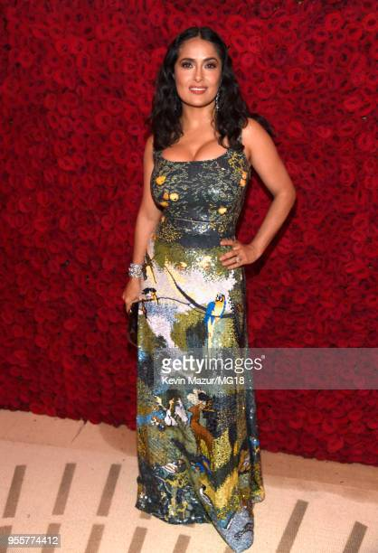 Salma Hayek attends the Heavenly Bodies Fashion The Catholic Imagination Costume Institute Gala at The Metropolitan Museum of Art on May 7 2018 in...