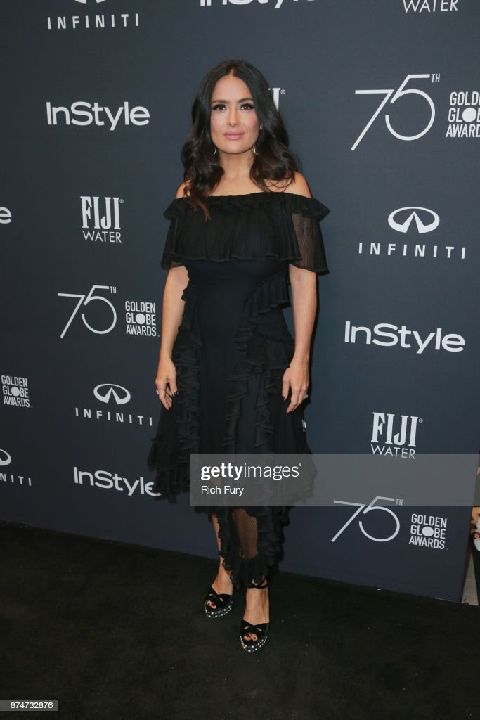 Salma Hayek attends the Hollywood Foreign Press Association and InStyle celebrate the 75th Anniversary of The Golden Globe Awards at Catch LA on November 15, 2017 in West Hollywood, California.