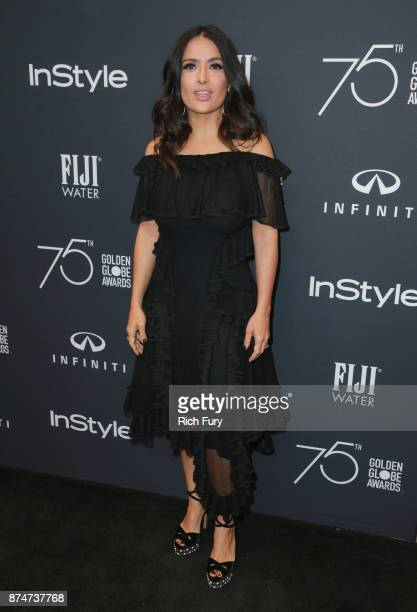 Salma Hayek attends the Hollywood Foreign Press Association and InStyle celebrate the 75th Anniversary of The Golden Globe Awards at Catch LA on...