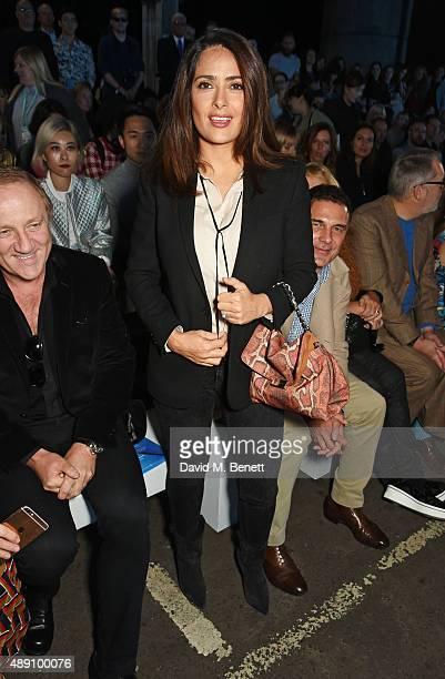 Salma Hayek attends the Hunter Original Spring/Summer 2016 Collection during London Fashion Week at Euston Station Parcel Deck on September 19 2015...