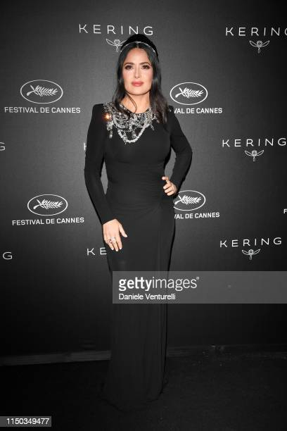 Salma Hayek attends the Kering and Cannes Film Festival Official Dinner at Place de la Castre on May 19 2019 in Cannes France