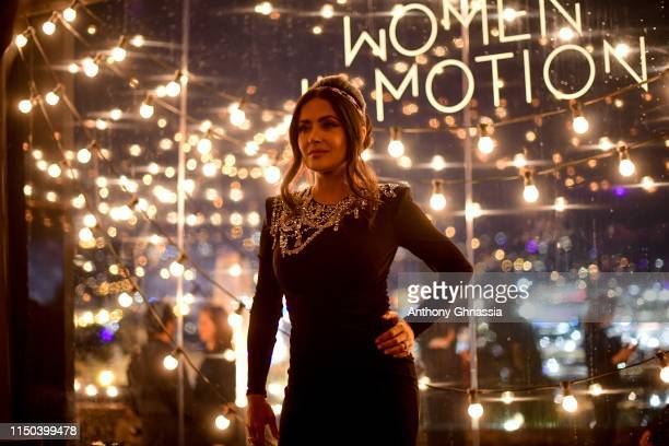 Salma Hayek attends the Kering and Cannes Film Festival Official Dinner at Place de la Castre on May 19, 2019 in Cannes, France.