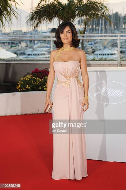 Salma Hayek attends the Palme d'Or Award Photocall held at the Palais des Festivals during the 63rd Annual Cannes Film Festival on May 23 2010 in...