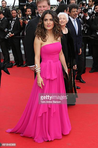 """Salma Hayek attends the """"Saint Laurent"""" premiere at the 67th Annual Cannes Film Festival on May 17, 2014 in Cannes, France."""