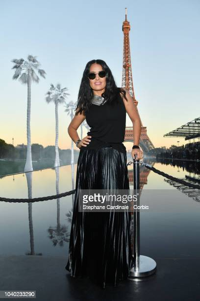 Salma Hayek attends the Saint Laurent show as part of the Paris Fashion Week Womenswear Spring/Summer 2019 on September 25 2018 in Paris France