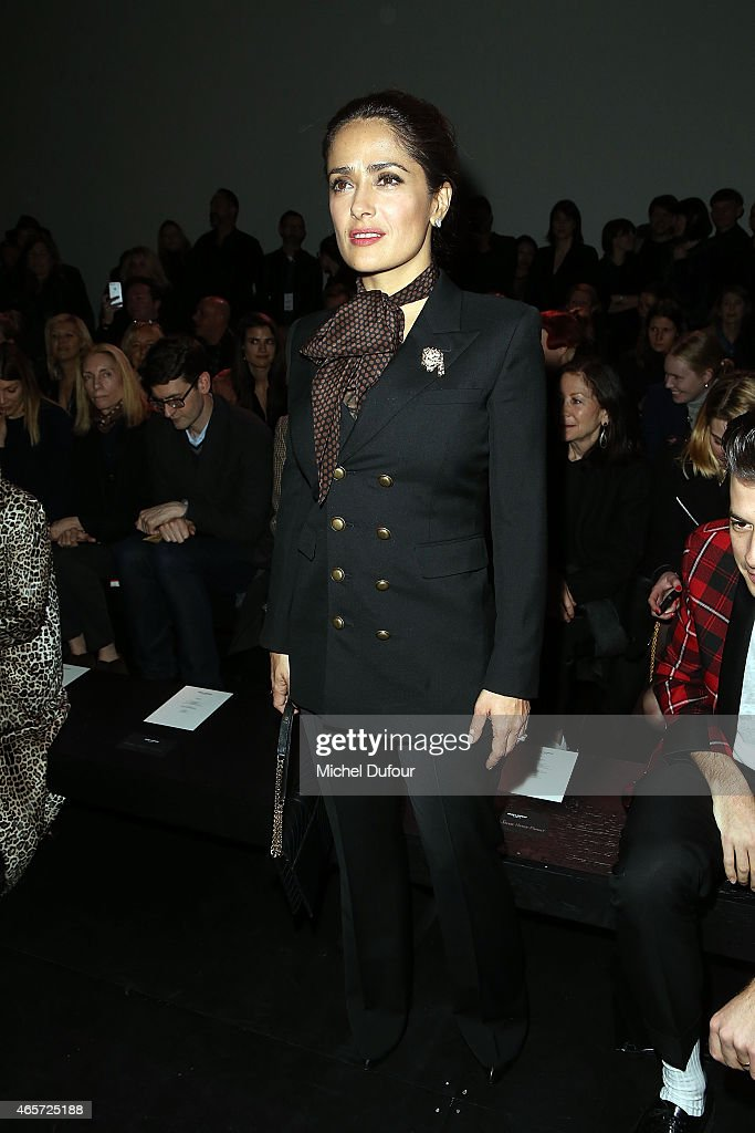 Salma Hayek attends the Saint Laurent show as part of the Paris Fashion Week Womenswear Fall/Winter 2015/2016 on March 9, 2015 in Paris, France.