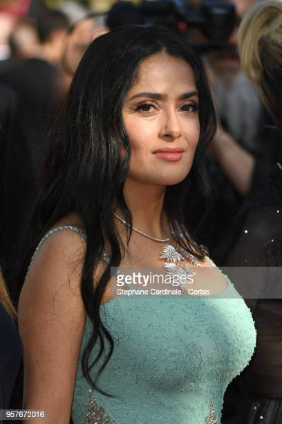 Salma Hayek attends the screening of Girls Of The Sun during the 71st annual Cannes Film Festival at Palais des Festivals on May 12 2018 in Cannes...