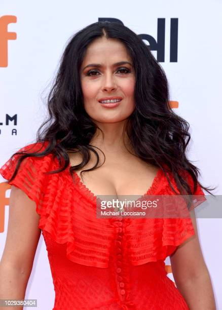 Salma Hayek attends the The Hummingbird Project premiere during 2018 Toronto International Film Festival at Princess of Wales Theatre on September 8...