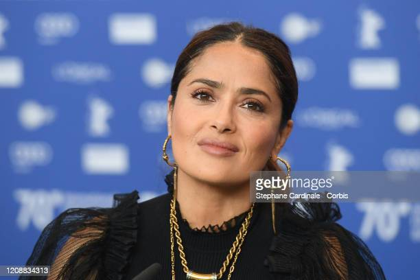 """Salma Hayek attends the """"The Roads Not Taken"""" press conference during the 70th Berlinale International Film Festival Berlin at Grand Hyatt Hotel on..."""