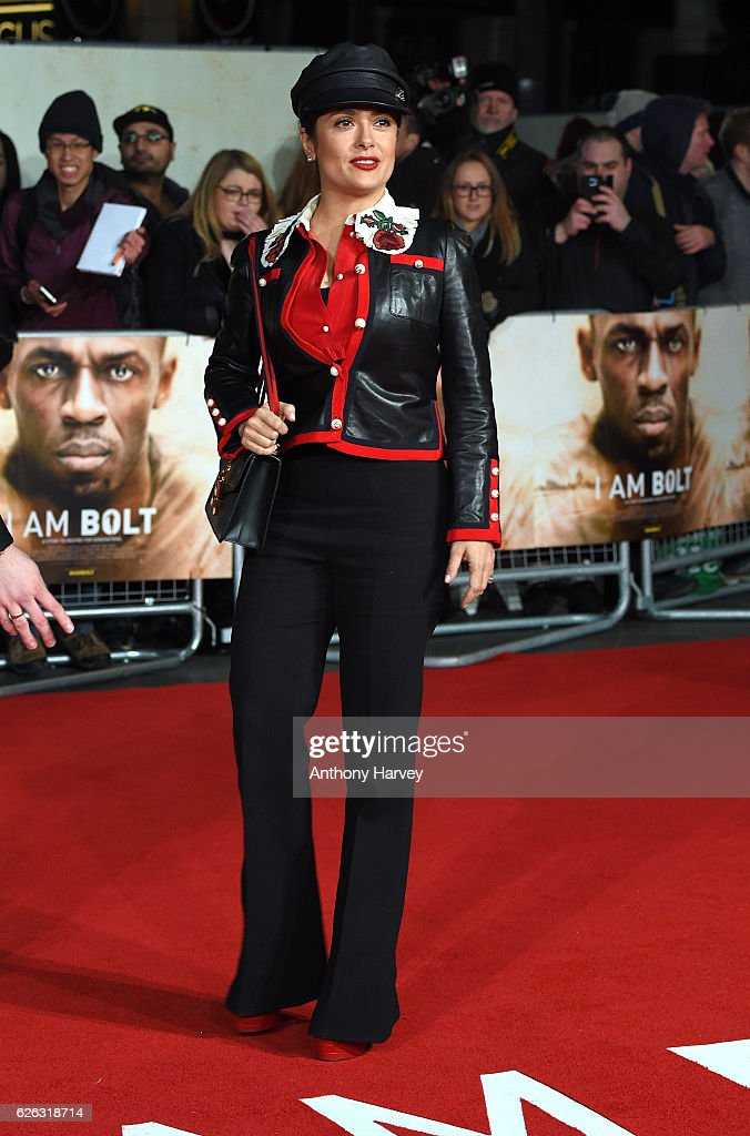 Salma Hayek attends the World Premiere of 'I Am Bolt' at Odeon Leicester Square on November 28, 2016 in London, England.