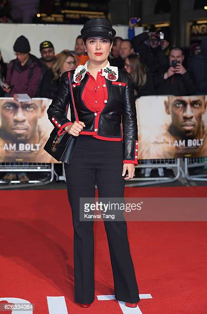 Salma Hayek attends the World Premiere of I Am Bolt at Odeon Leicester Square on November 28 2016 in London England
