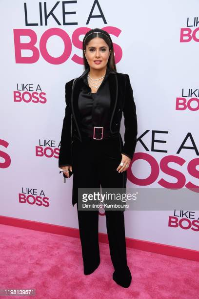 """Salma Hayek attends the world premiere of """"Like A Boss"""" at SVA Theater on January 07, 2020 in New York City."""