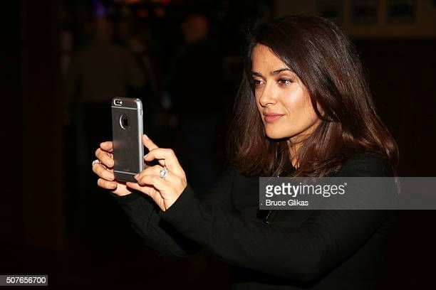 Salma Hayek backstage at the matinee of Andrew Lloyd Webber hit musical School of Rock on Broadway at The Winter Garden Theatre on January 30 2016 in...