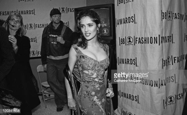 Salma Hayek backstage at the VH1 Fashion Awards in October 1998 in New York City New York